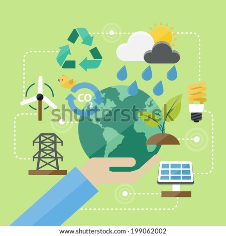 Flat Design Concept Environment and Green Icons Vectors - stock vector