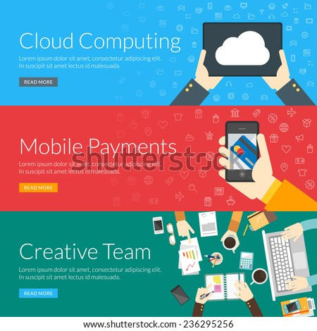 Flat design concept for cloud computing, mobile payments and creative team. Vector illustration for web banners and promotional materials - stock vector