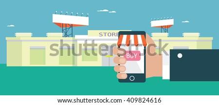 Flat design concept for e-shopping - stock vector