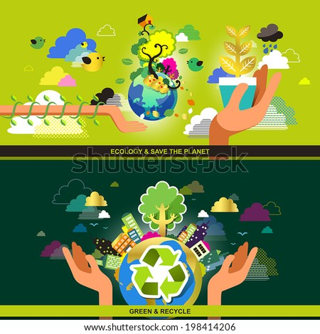flat design concept for ecology, green, recycle and save the planet - stock vector