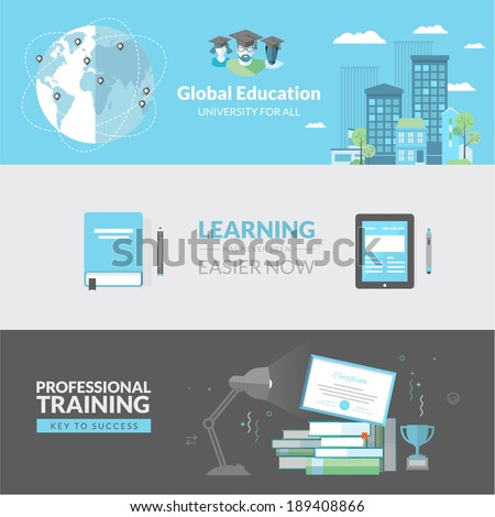 Flat design concept for education. Concepts for web banners and printed materials. - stock vector