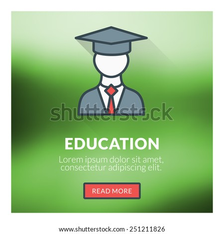 Flat design concept for education. Vector illustration with blurred background - stock vector