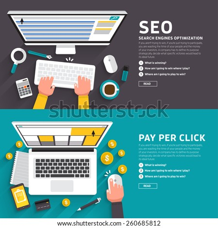 Flat design concept for seo article and ad online pay per click. Vector illustrate for flexible design banner. - stock vector