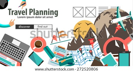 Flat Design Concept For Travel Organization and Trip Planning, room reservation, maps, find places, adventures. Ideal for printed material, paper guide, instructional brochures or flyers. - stock vector