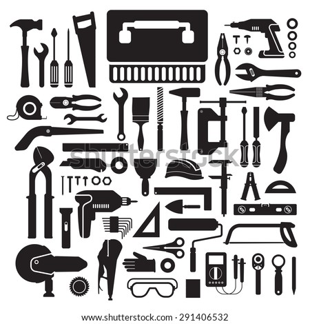 Flat design concept hand work tools box set.Vector illustrate. - stock vector