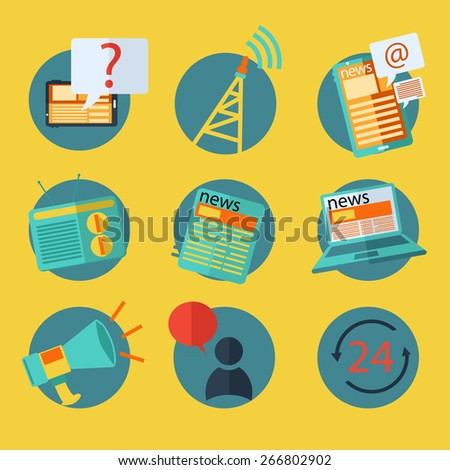 flat design concept icons for news - stock vector