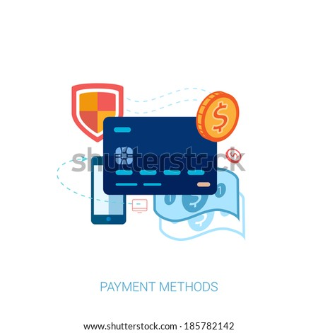 Flat design concept icons for payment methods for online shopping and e-commerce. Web shop, credit card, coin, banknote, phone and shield vector illustration.  - stock vector