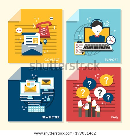 flat design concept illustration for faq, newsletter, support, contact - stock vector