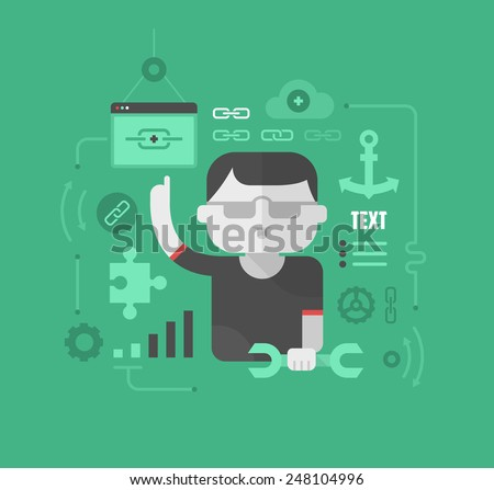 Flat design concept illustration of link building for search ranking, website traffic success, reaching target audience and creating online reputation. SEO modern style business concept - stock vector