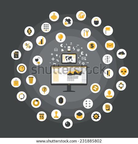 Flat design concept images - digital marketing - stock vector