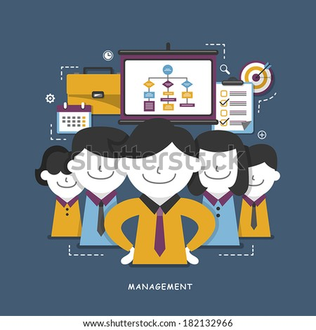 flat design concept of business management or finance workflow theme - stock vector