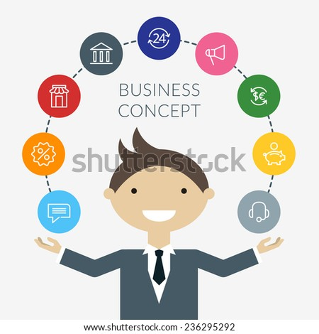 Flat design concept of businessman management or finance workflow theme - stock vector