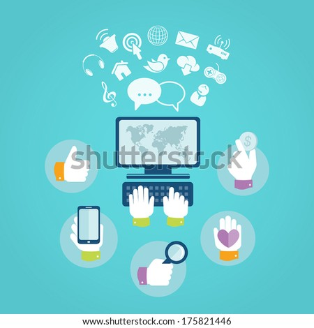 Flat design concept of computer and internet services - stock vector