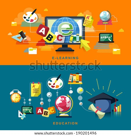 flat design concept of education and online learning - stock vector