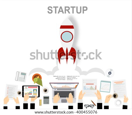 Flat design concept of Idea Startup and Business Startup. Flat design for Website Element ,Web Template , Web Banner , Book Cover and Corporate documents. - stock vector