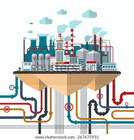 Flat design concept of nature pollution. Industrial landscape with factory buildings, smoking pipes, wires, constructions, communications. Vector illustration - stock vector