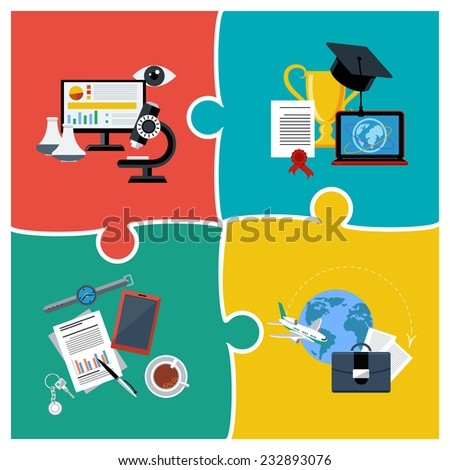 Flat design concept of online education, science and business - stock vector