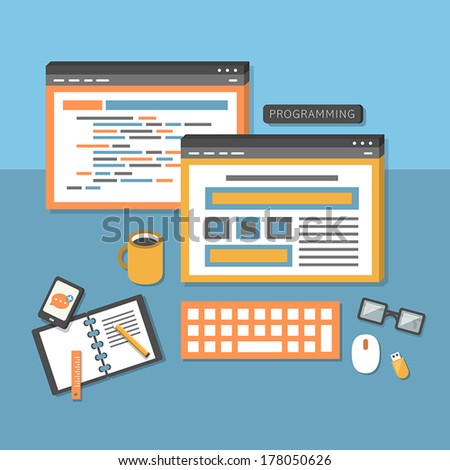 flat design concept of programmer workflow for web coding - stock vector