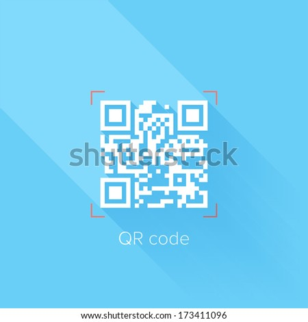 Flat design concept of QR code with long shadow. - stock vector