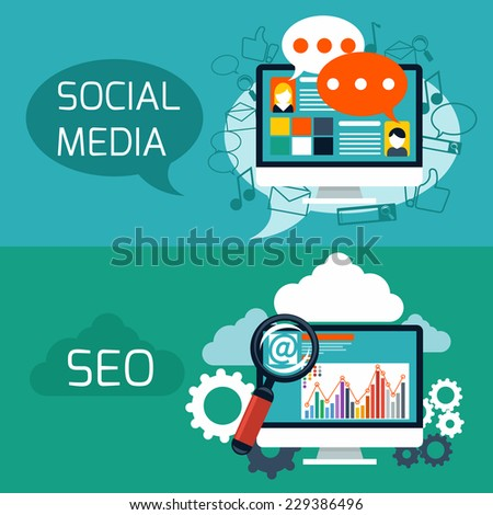 Flat design concept of search engine optimization and social media web application - stock vector