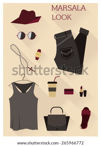 Flat design concept vector illustration of female every day carry and outfit accessories, things, tools, devices, essentials, equipment, objects, items. Icons collection in stylish colors. Clothes - stock vector