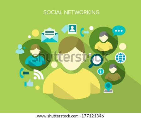 Flat design concept vector illustration surrounded by a cloud of colourful application icons of social networking. - stock vector