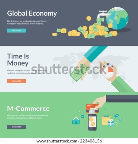 Flat design concepts for business, finance, economy, investment, marketing, consulting, financial market, business strategy, m-commerce. Concepts for web banners and promotional materials.   - stock vector