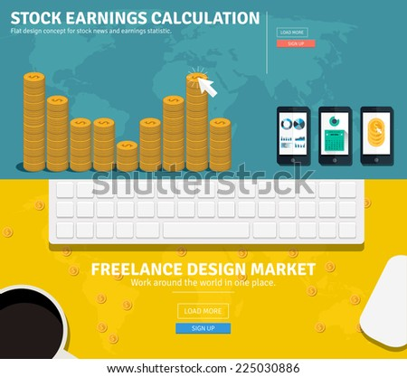 Flat design concepts for business, freelance, stock earnings, global market, market calculation, office work, organizing workplace. Concepts and icons for web banners, apps and promotional materials. - stock vector