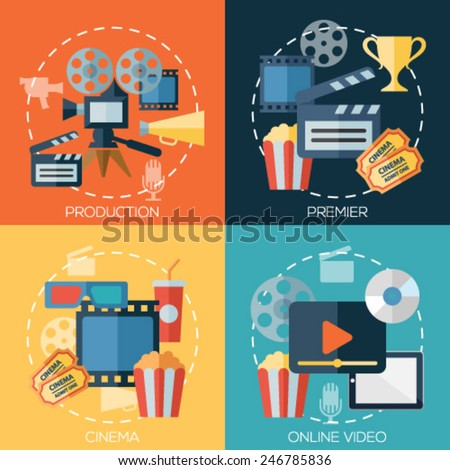 Flat design concepts for cinema, movie production, premier, online video. Concepts for web banners and promotional materials. - stock vector