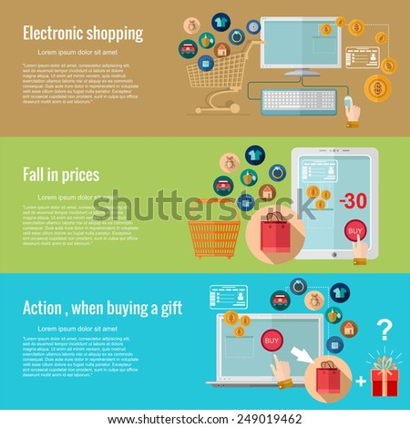 Flat design concepts for e-shopping.electronic shopping, fall in prices, action when buying a gift.Concepts for web banners and promotional materials. - stock vector