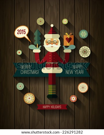 Flat design concepts for Merry Christmas and Happy New Year cards. Xmas icons. Flat Santa Claus, Snowflakes and 2015 icons with long shadow on wood texture. Modern design of banner, poster, card.  - stock vector