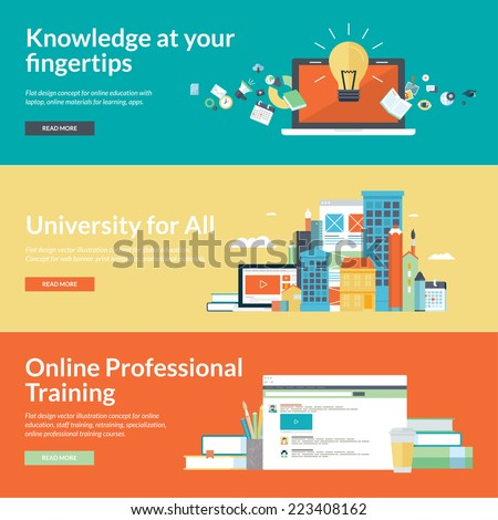 Flat design concepts for online education,online training courses, staff training, retraining, specialization, university, tutorials. Concepts for web banners and promotional materials.     - stock vector