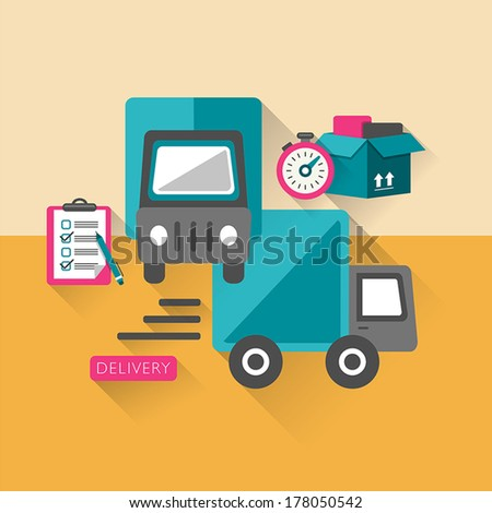 flat design delivery concept icons set for web and mobile services and apps - stock vector