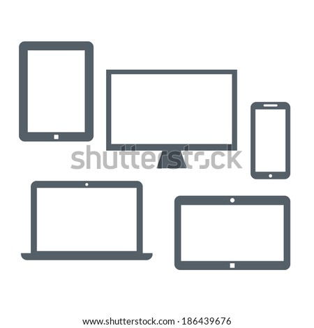 Flat Design Devices Vector - stock vector