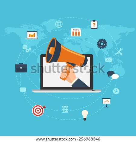 Flat design digital marketing concept. Hand holding megaphone coming out from laptop - stock vector
