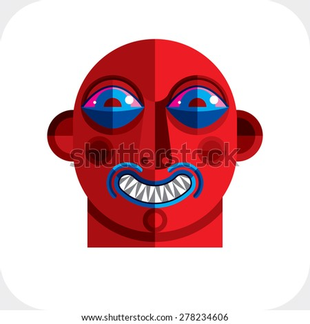 Flat design drawing of a person face, art picture made in cubism style. Vector colorful illustration of bizarre character. - stock vector