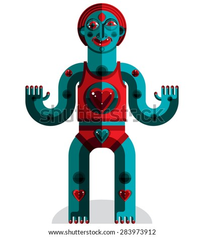 Flat design drawing of odd character, art picture made in cubism style. Vector colorful illustration of spiritual totem isolated on white. - stock vector