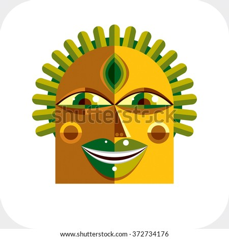 Flat design drawing of person face, art picture made in cubism style. Vector colorful illustration of bizarre character. - stock vector