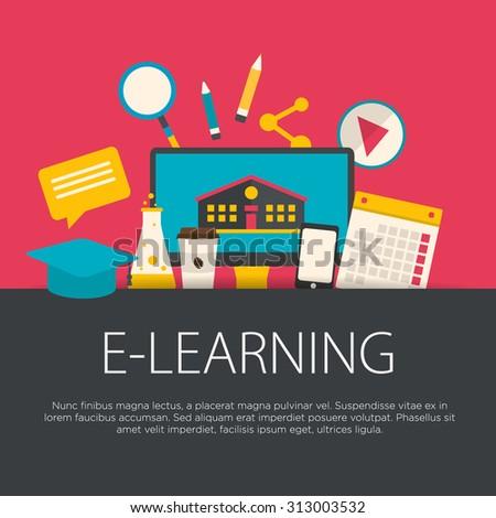 Flat design e-learning concept. E-learning equipment background. Vector illustration. - stock vector