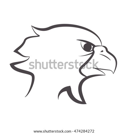 flat design eagle emblem icon vector illustration