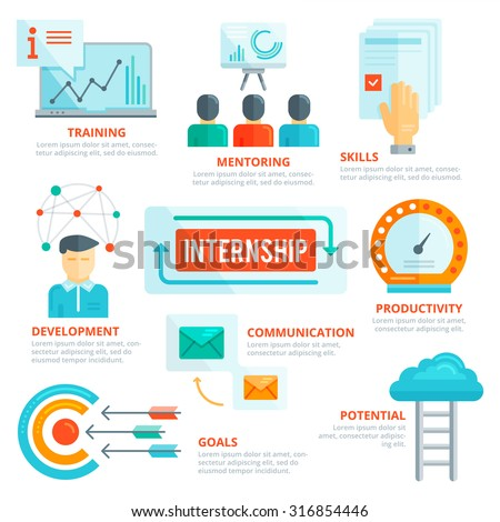 Flat design elements of internship, mentoring, training, skills, development, challenge, communication, performance, productivity, potential, goal development. Infographic vector template. - stock vector