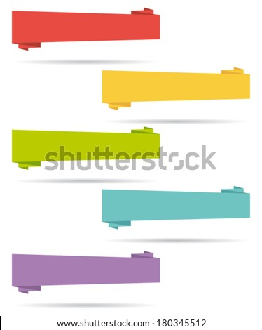 Flat design elements. Origami banners. Set I. Vector collection. - stock vector