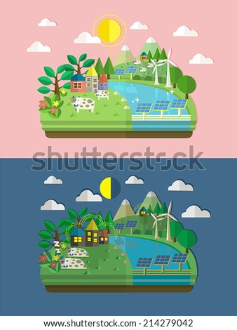 flat design for ecology and green energy concept graphic