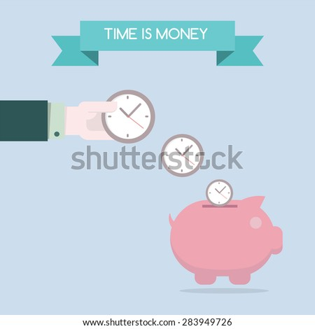 Flat design for time is money concept background, EPS10