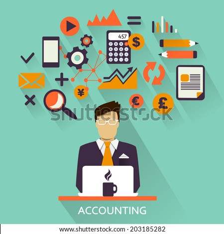 Flat design . Freelance career. Accounting. - stock vector