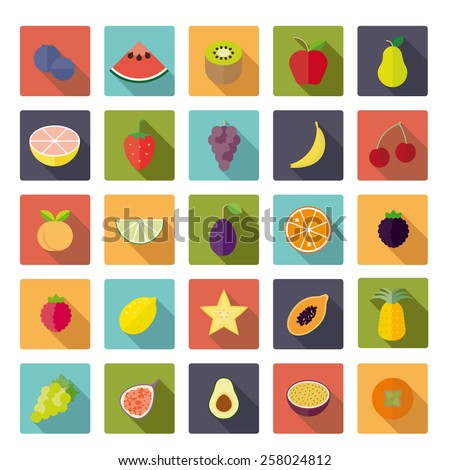 Flat Design Fruit Vector Icon Set. Collection of 25 fruit icons in rounded squares, flat design, long shadow. - stock vector