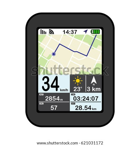 flat design gps device vector illustration isolated on white background
