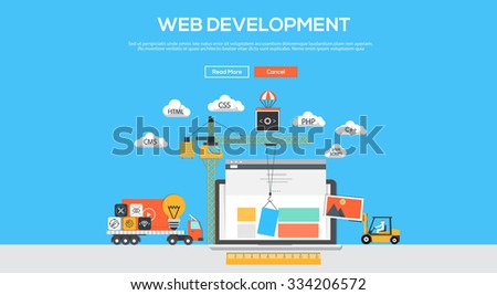 Flat  design graphic image concept, website elements layout of Web Development. Icons Collection of Creative Work Flow Items and Elements. Vector Illustration - stock vector