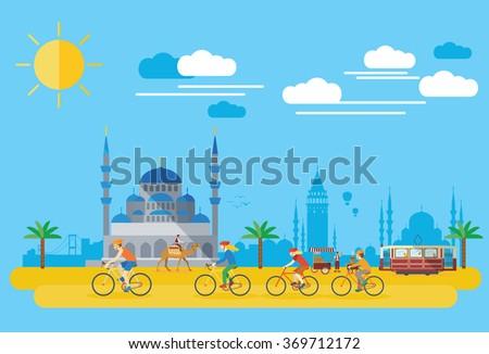 Flat design, Happy family biking in Turkey - stock vector