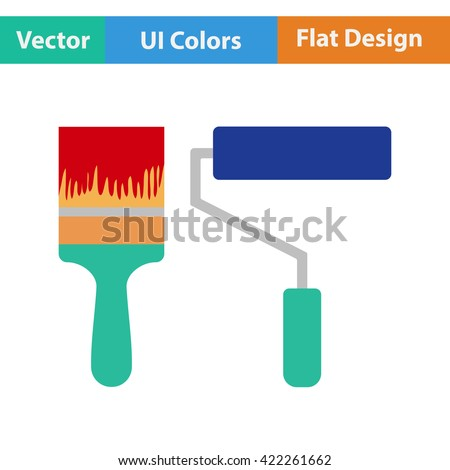 Flat design icon of construction paint brushes in ui colors. Vector illustration.  - stock vector